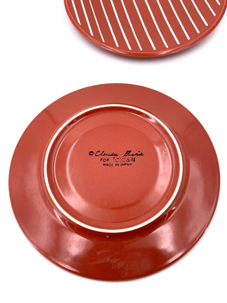 Post-Modern Set of Postmodern Memphis Era Plates by Claudia Shuride for Toscany Collection For Sale