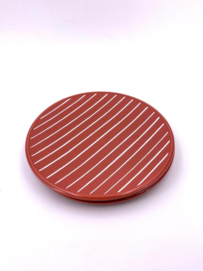 Japanese Set of Postmodern Memphis Era Plates by Claudia Shuride for Toscany Collection For Sale