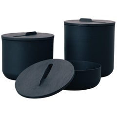 Set of Pots, Kobe Collection, Contemporary Pots in Metal and Blackened Wood