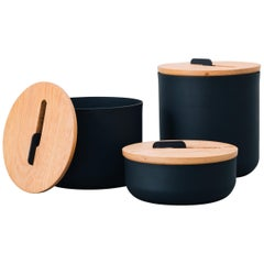 Set of Pots, Kobe Collection, Contemporary Pots in Metal and Wood