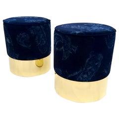 Set of Poufs in Brass and Velvet, Italy