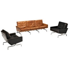 Set of Poul Kjaerholm 'PK31-1' Lounge Chairs and PK31 Sofa in Leather