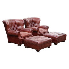 Set of Ralph Lauren Burgundy Leather Writer's Club Chairs and Ottomans, Signed