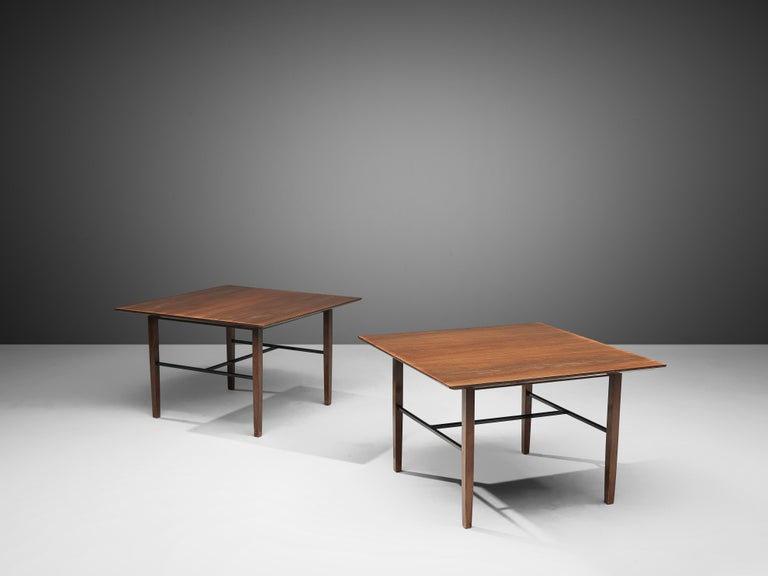 Harry Bertoia for Knoll International, pair of side tables model 560, walnut, metal, United States, 1960s  Exquisite pair of side tables by Harry Bertoia for Knoll International. The squared top features a dynamic expression of the wood. Four wooden