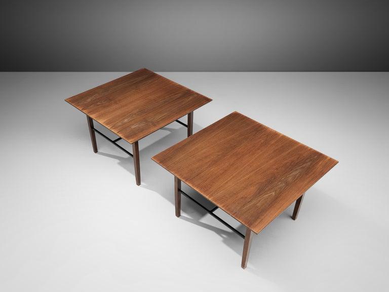 Mid-Century Modern Set of Rare Harry Bertoia Side Tables in Walnut For Sale