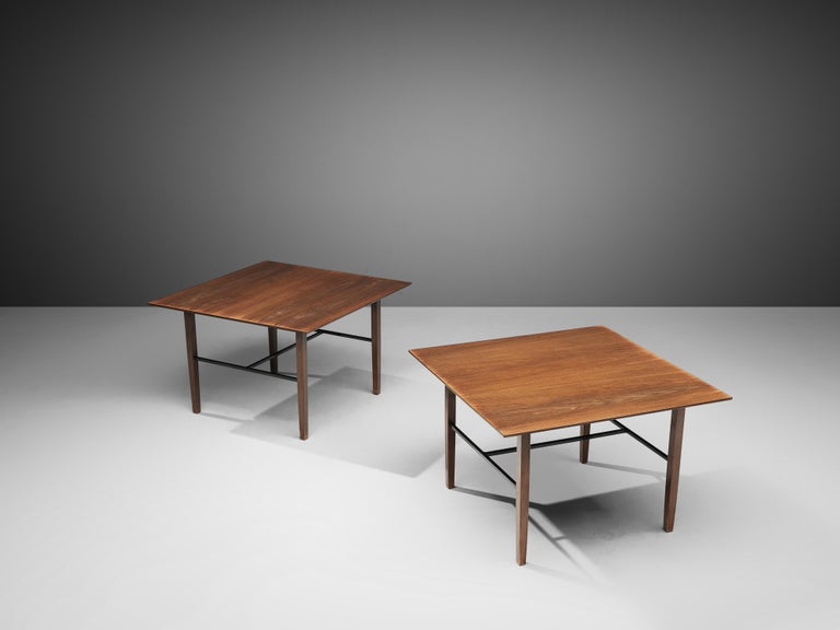 American Set of Rare Harry Bertoia Side Tables in Walnut For Sale