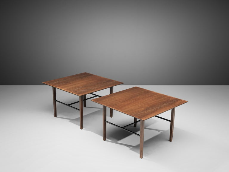 Mid-20th Century Set of Rare Harry Bertoia Side Tables in Walnut For Sale