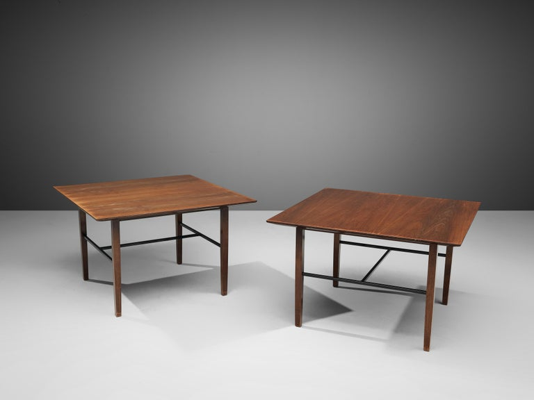 Set of Rare Harry Bertoia Side Tables in Walnut For Sale 1