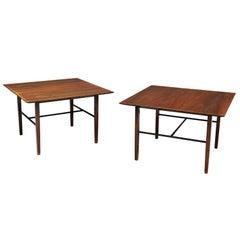 Set of Rare Harry Bertoia Side Tables in Walnut