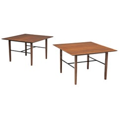 Set of Rare Harry Bertoia Side Tables in Walnut