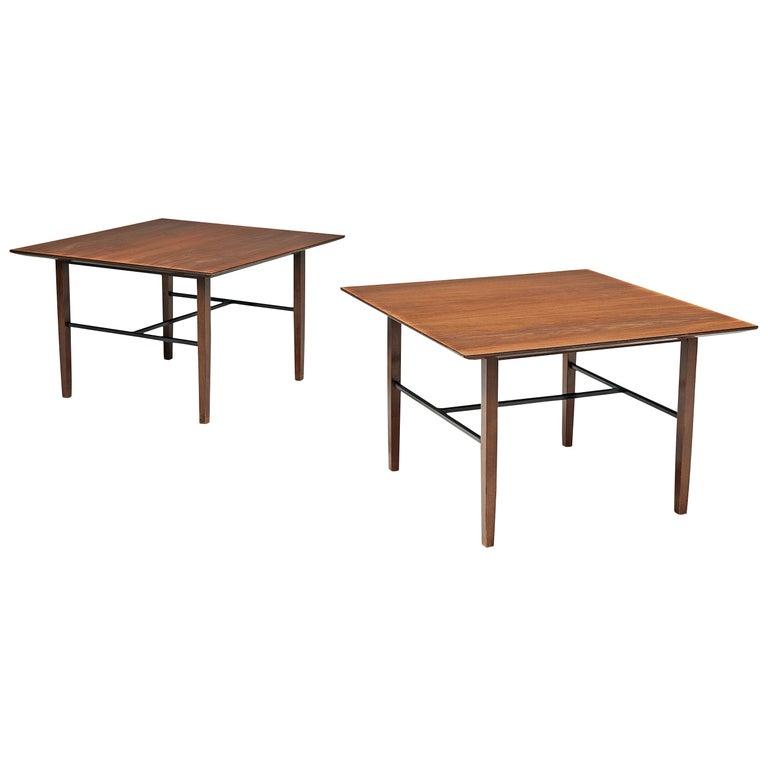 Set of Rare Harry Bertoia Side Tables in Walnut For Sale