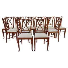 Set of Rare Important Walnut 12 Dining Chairs Attributed Paolo Buffa, circa 1950