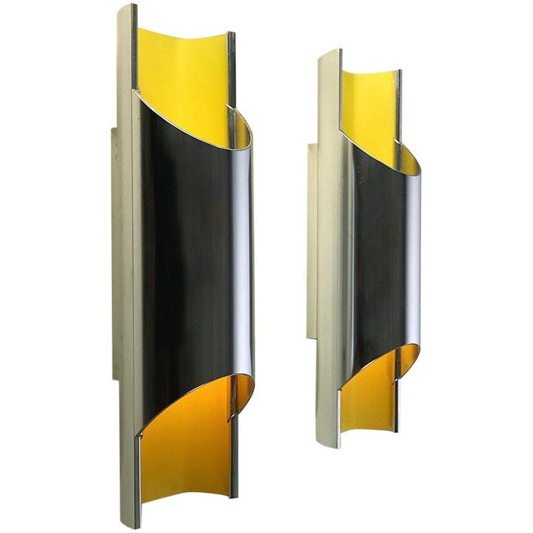 Set of Rare Pandean Wall Sconces by Bent Karlby for Lyfa, Denmark, 1970 For Sale
