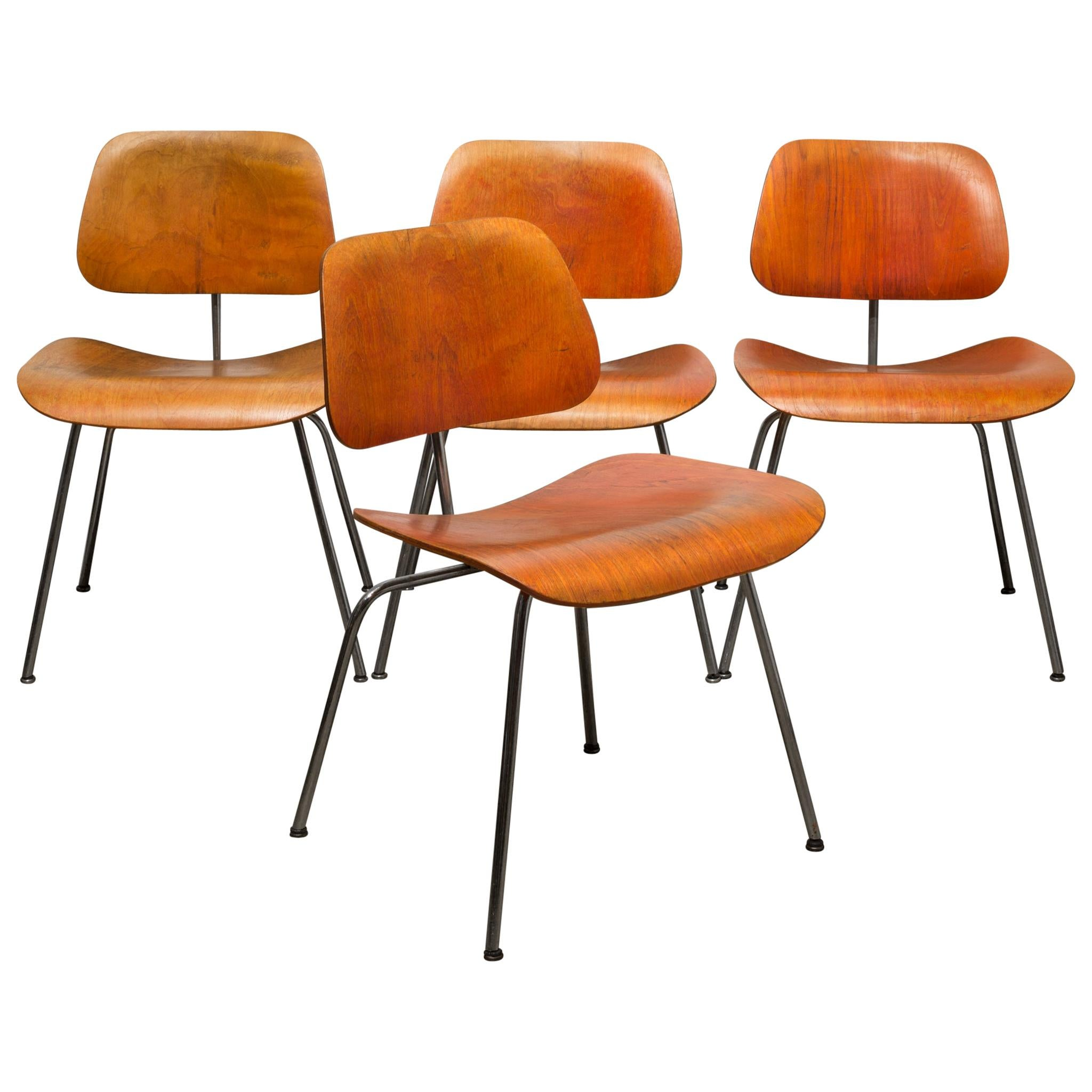 Set of Rare Red Aniline Herman Miller DCM Chairs, possibly Evans circa 1950-1960