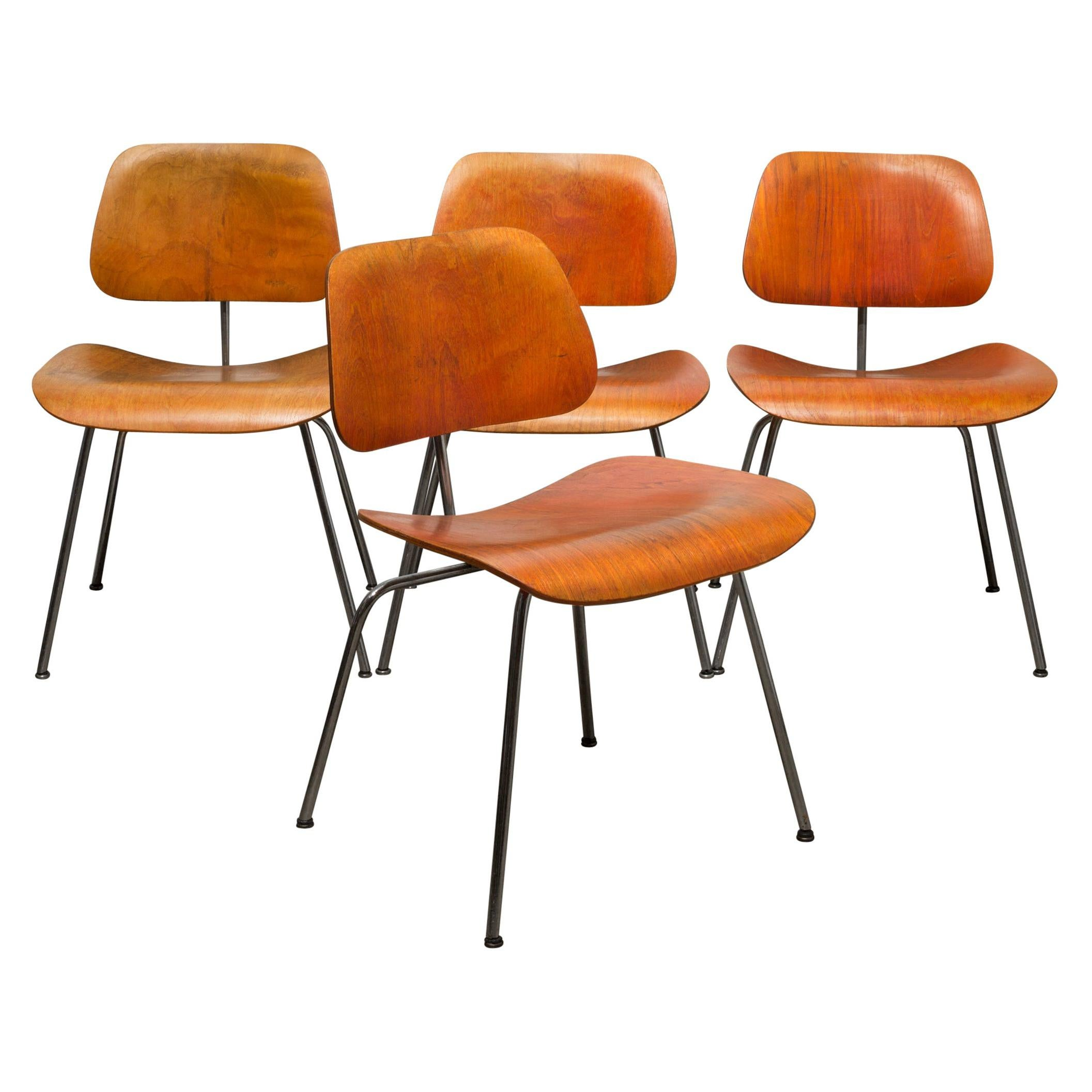 Set of Rare Red Aniline Herman Miller DCM Chairs by Evans circa 1950-1960