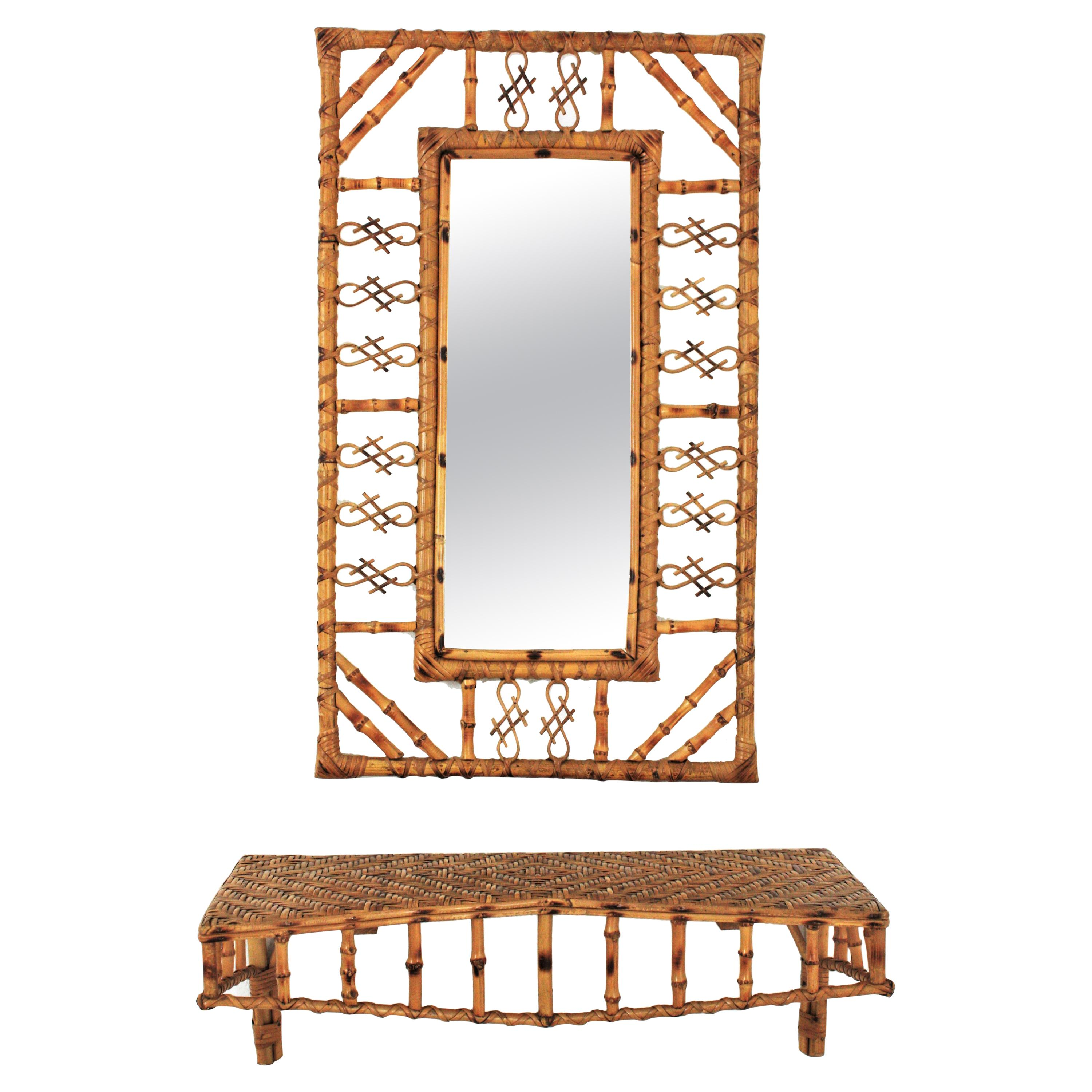 Set of Rattan and Bamboo Mirror with Wall Shelf Console Table, France, 1950s