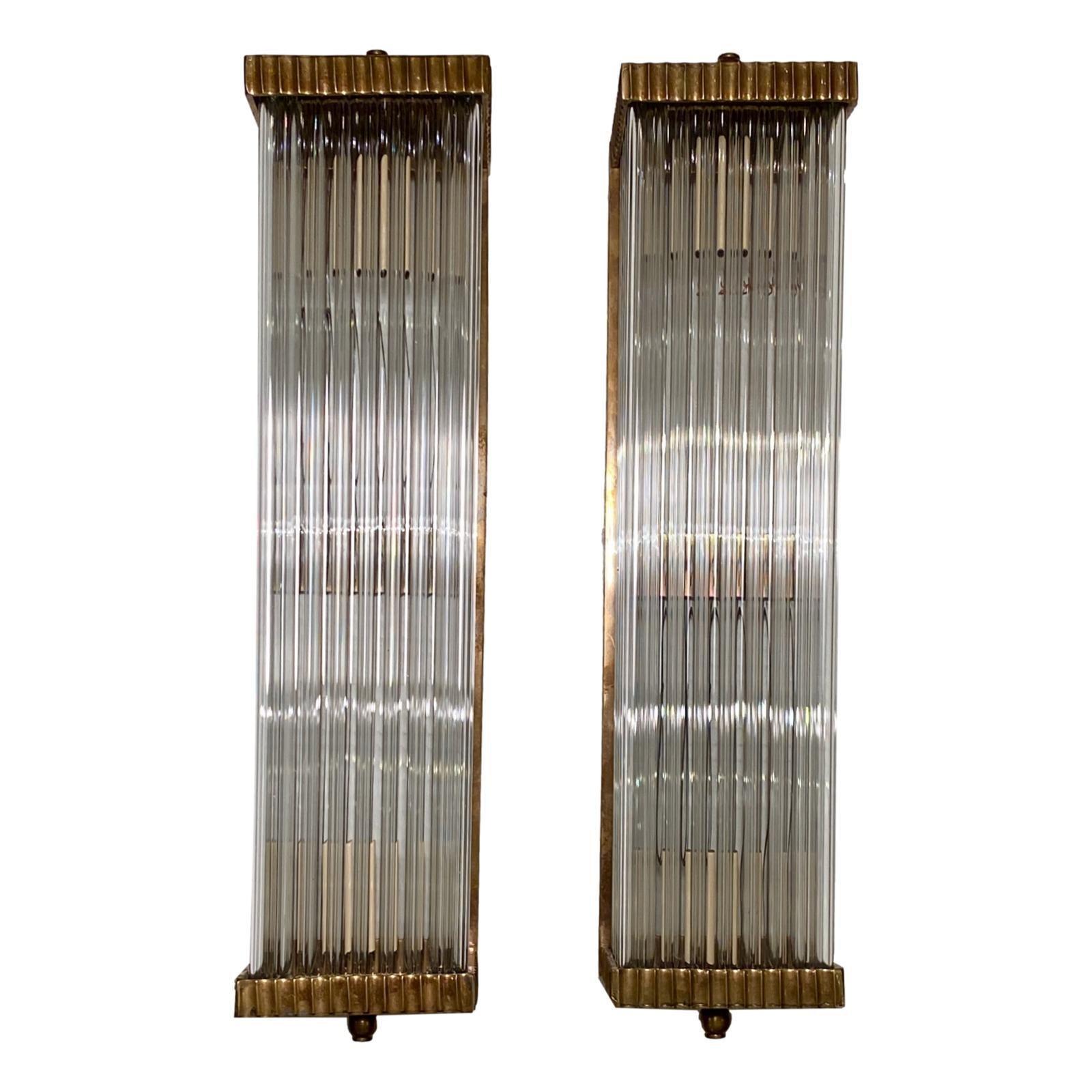 Set of Rectangular Glass Rods Sconces, Sold Per Pair