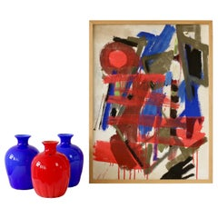 Set of Red and Blue Murano Glass Cenedese Vases & Abstract Modern Art Painting