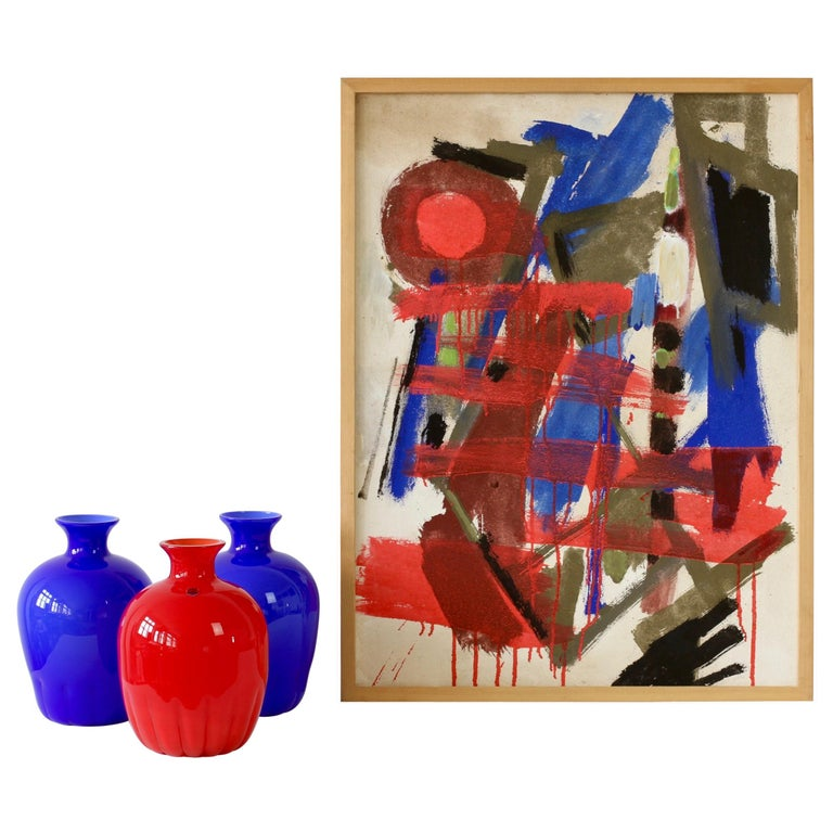 Set of Red and Blue Murano Glass Cenedese Vases & Abstract Modern Art Painting For Sale