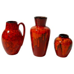 Set of Red West German Fat Lava Ceramic Vases by Scheurich, WG, 1960s
