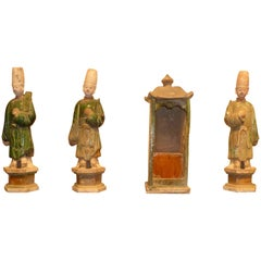 Set of Refine Ming Dynasty Green Glazed Attendants and a Sedan Chair