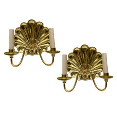 Set of Repousse' Shell Sconces, Sold Per Pair