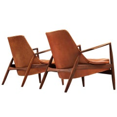 Set of Original Cognac Leather Ib Kofod-Larsen 'Seal Chairs'