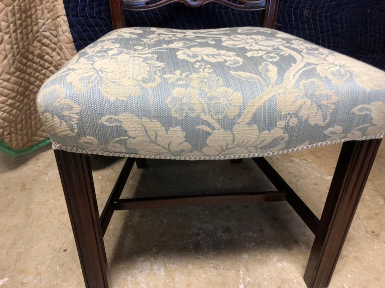 Set of 8 Mahogany Chippendale Style Ribbon Back Dining Chairs, Fabric Seats In Good Condition For Sale In Athens, GA