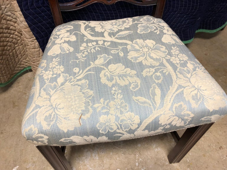 20th Century Set of 8 Mahogany Chippendale Style Ribbon Back Dining Chairs, Fabric Seats For Sale