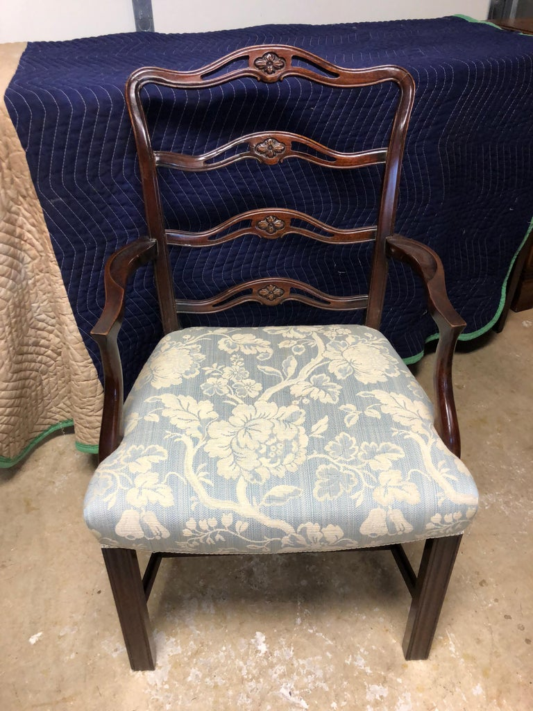 Set of 8 Mahogany Chippendale Style Ribbon Back Dining Chairs, Fabric Seats For Sale 1