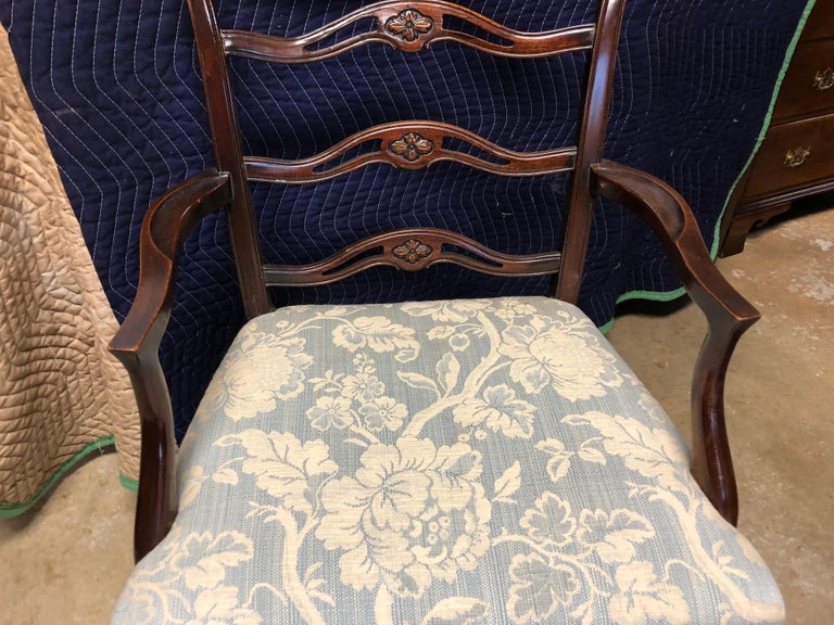 Set of 8 Mahogany Chippendale Style Ribbon Back Dining Chairs, Fabric Seats For Sale 2