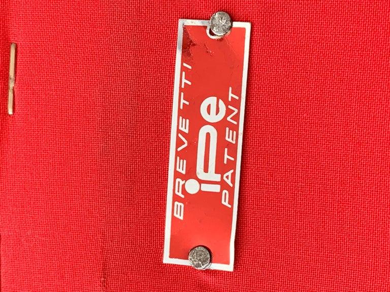 Set of Rito Valla Armchairs, IPE Brevetti, Italian Design 1960 Red Velvet For Sale 1