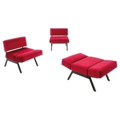 Set of Rito Valla Armchairs, IPE Brevetti, Italian Design 1960 Red Velvet