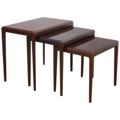 Set of Rosewood Nesting Tables by Johannes Andersen for CFC Silkeborg, Denmark
