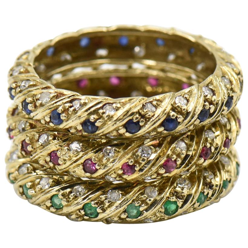 Set of Ruby Emerald Sapphire Stacking Gold Bands with Diamonds