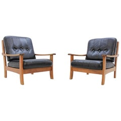 Set of Scandinavian Black Leather Armchairs, 1960s