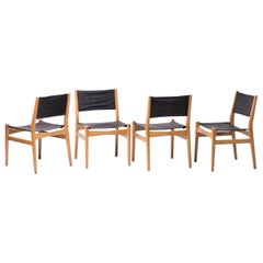 Set of Scandinavian Leather Sling Seat Dining Chairs