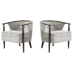 Set of Scandinavian Modern Barrel Lounge Chairs