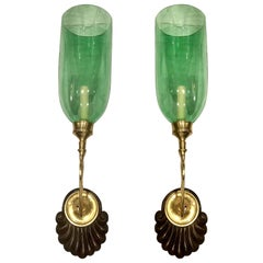 Set of Sconces with Emerald Green Glass Hurricanes, Sold in Pairs