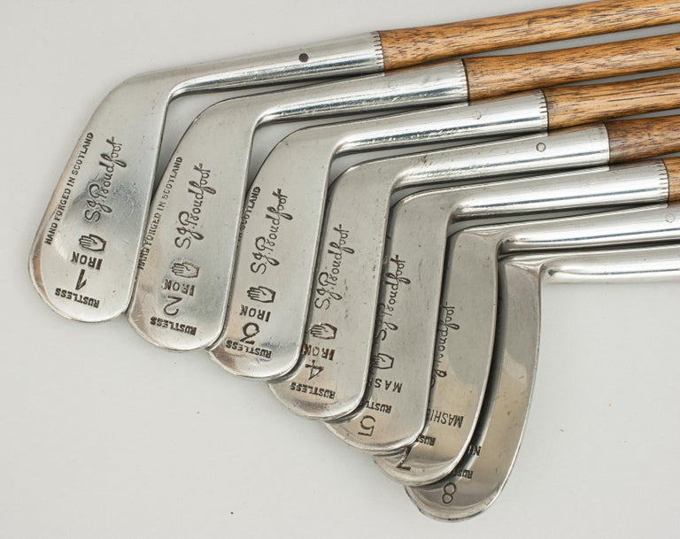 Steel Set of Scottish Vintage Golf Clubs by Nicoll of Leven For Sale