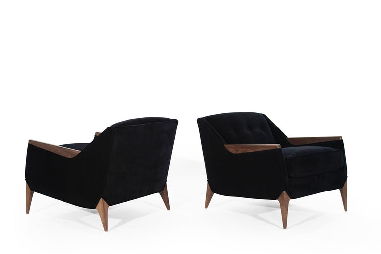 20th Century Set of Sculptural Italian Reading Lounges in Mohair, 1950s For Sale
