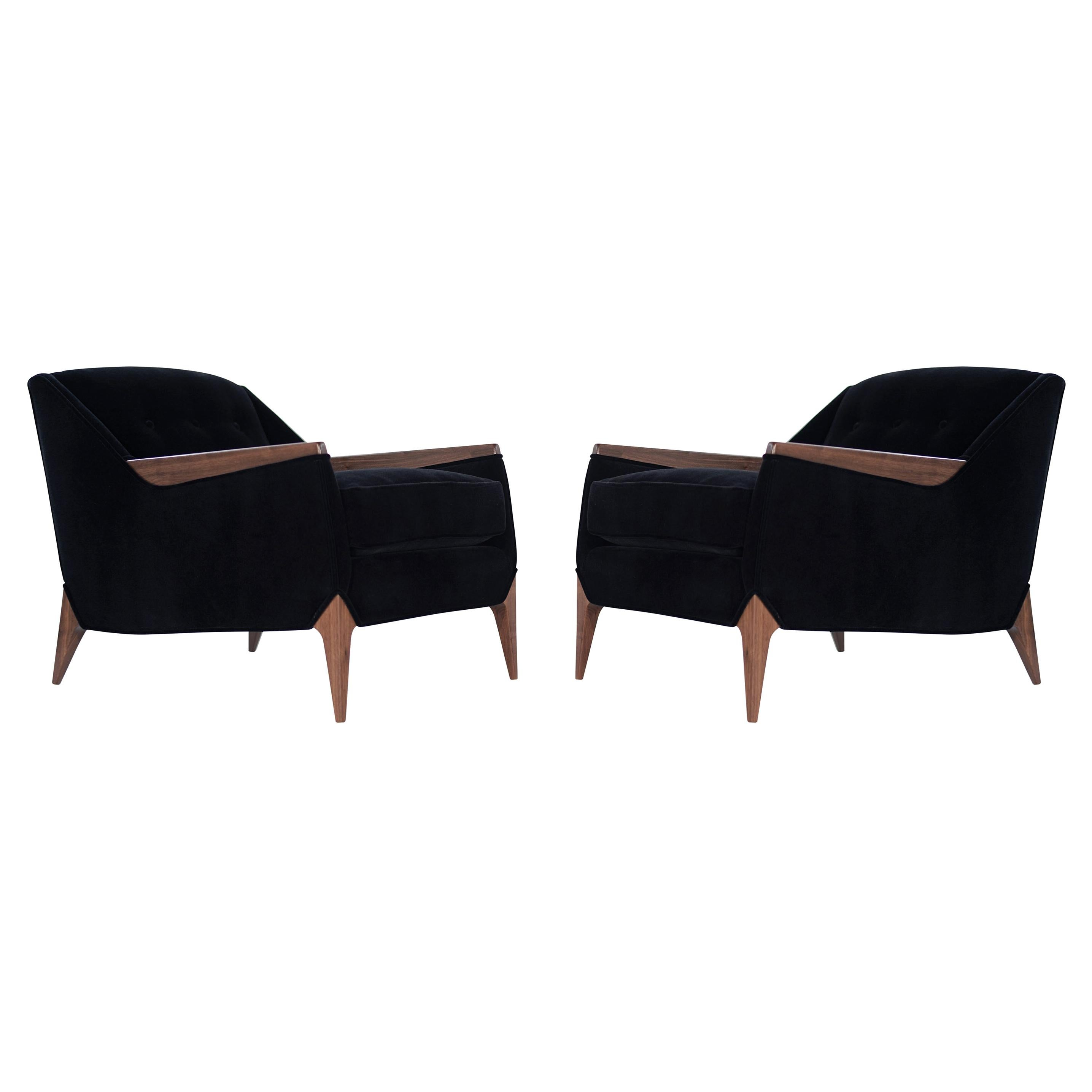 Set of Sculptural Italian Reading Lounges in Mohair, 1950s