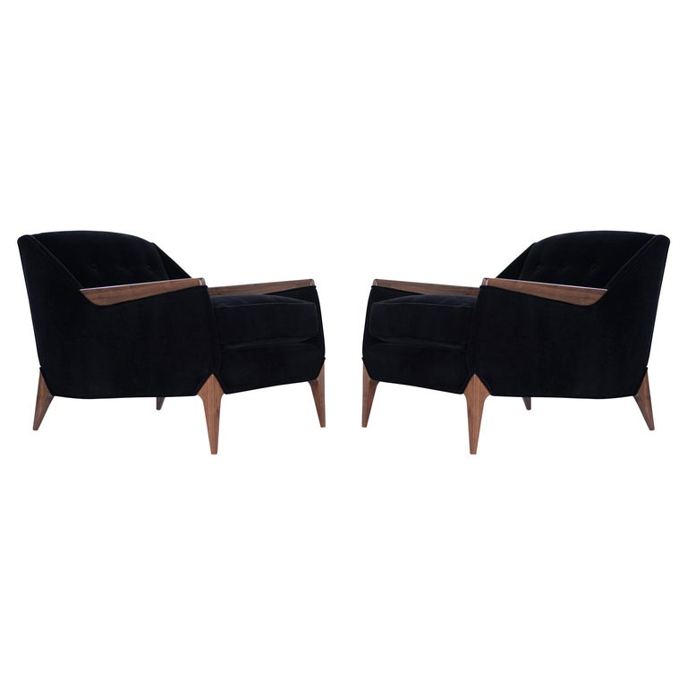 Set of Sculptural Italian Reading Lounges in Mohair, 1950s For Sale