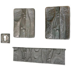 Set of Sculptural Organic Bronze Art Door Handles, Mailbox and Keyhole, 1960s
