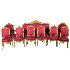 Set of Seats 'Chairs, Armchairs, Sofa', Wood, 19th Century