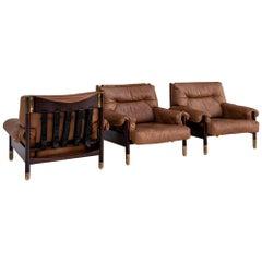 "Set of ""Sella"" Three Brown Leather Armchairs Carlo de Carli Per Sormani"