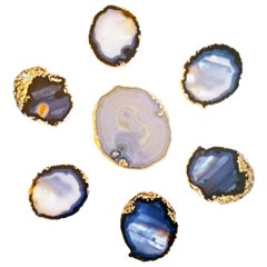Set of Semi Precious Gemstone Coaster, France, 1970s