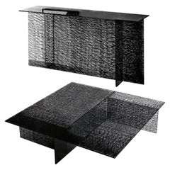 In Stock in Los Angeles, Set of Sestante Black Glass Coffee Table and Console