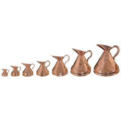 Set of Seven 19th Century English Copper Graduated Measures