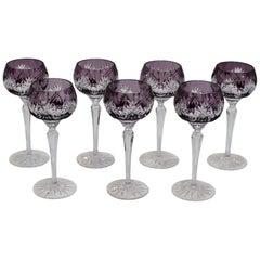 Set of Seven 1960s Bohemin Handcut Crystal Chalices